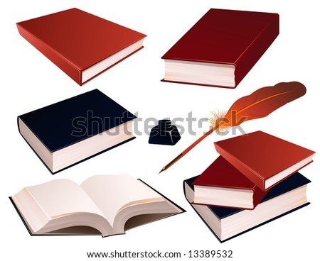 Books on isolated background, vetcor illustration, EPS file included - stock vector