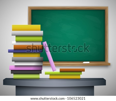 Books on the desk, behind the blackboard. Eps 10 - stock vector
