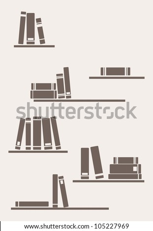 Books on the shelf - simply retro vector illustration. Vintage objects for decorations, background, textures or interior wallpaper. Brown bookshelves on the wall - stock vector