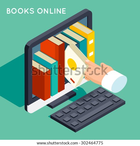 Books online library isometric 3d flat concept. Internet knowledge, web online, study technology, computer screen, vector illustration - stock vector