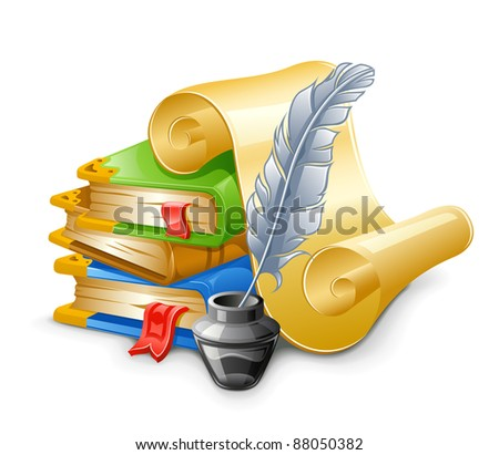 Books, papyrus with feather pen and ink pot. Isolated on white background. - stock vector