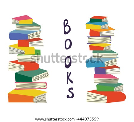 Books piles background for the educational card, vector illustration design - stock vector