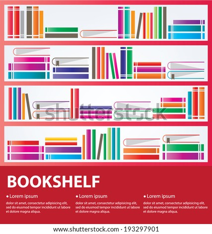 books placed on a bookshelf - stock vector