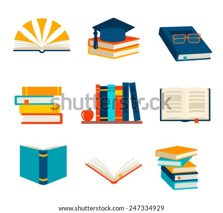 Books set isolated on white background, vector illustration  - stock vector