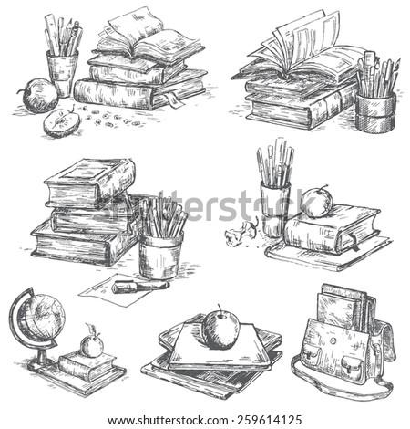 Books set. Pen sketch converted to vectors. - stock vector
