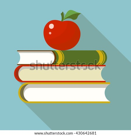 Books with apple flat style bright color. Back to school education - Vector - stock vector