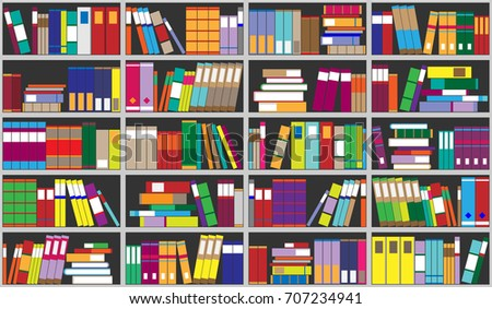Books Shelves books on shelves seamless background bookcase stock vector