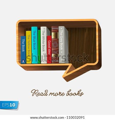 Bookshelf in the form of speech bubble isolated on white background, vector Eps10 illustration. - stock vector
