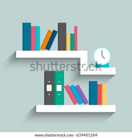 Bookshelf Colorful Books Clock On Blue Stock Photo (Photo, Vector ...