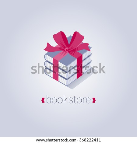 Bookstore, bookshop vector logo, icon, symbol, emblem, sign in vector. Graphic design element with books packed as present - stock vector