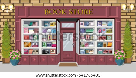 Bookstore Facade Design With Bright Books On Shelves. Exterior Building  Architectural Design With Spruces,
