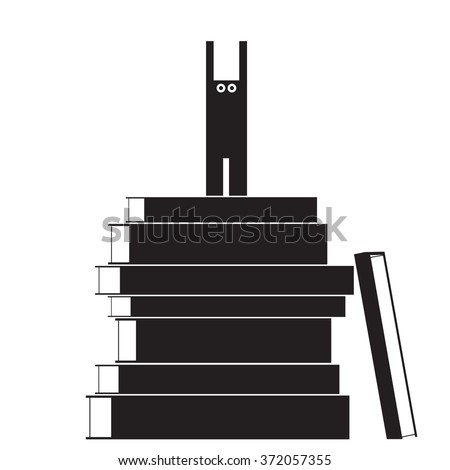 Bookworm hat is on the books. Read all the books. Education completed successfully - stock vector