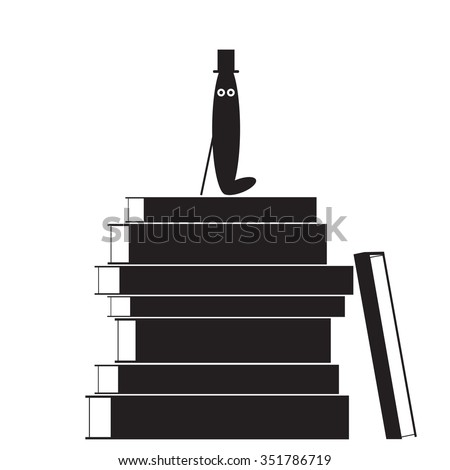 Bookworm with hat is on the books. Read all the books. Education completed successfully - stock vector