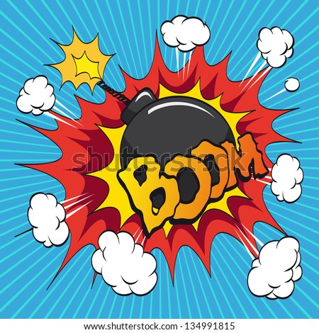 Boom bomb. Comic book explosion, vector illustration - stock vector