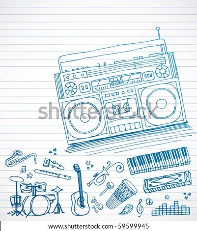 Boom Box Doodles - stock vector