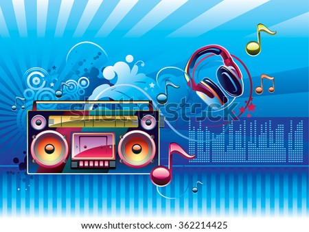 Boom box & notes on bright background - stock vector
