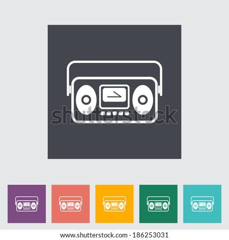Boom box. Single flat icon. Vector illustration. - stock vector