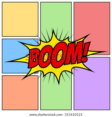 Boom Comic Book Cartoon Background Though Speech Scream Bubble Effects Onomatopoeia - stock vector