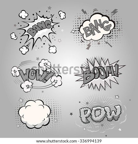 Boom. Comic book explosion set and speech bubble - stock vector