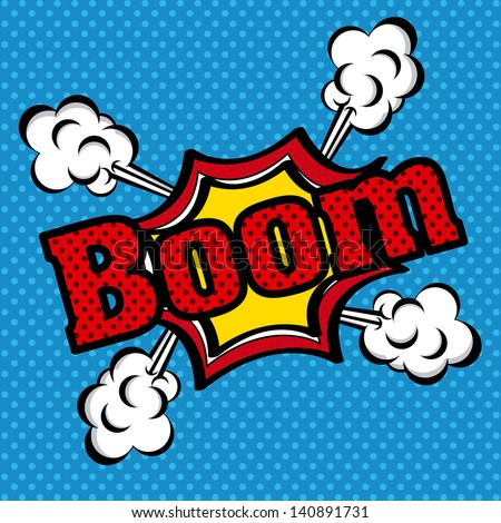 boom comics icon over dotted blue  background vector illustration - stock vector