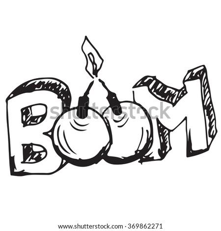 Boom doodle - stock vector