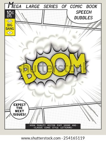 Boom. Explosion in comic style with lettering and realistic puffs smoke. 3D vector pop art speech bubble - stock vector