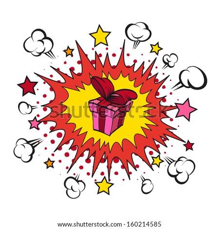 Boom present surprise, vector illustration - stock vector