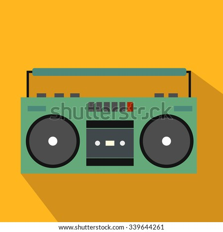 Boombox flat icon for web and mobile devices - stock vector
