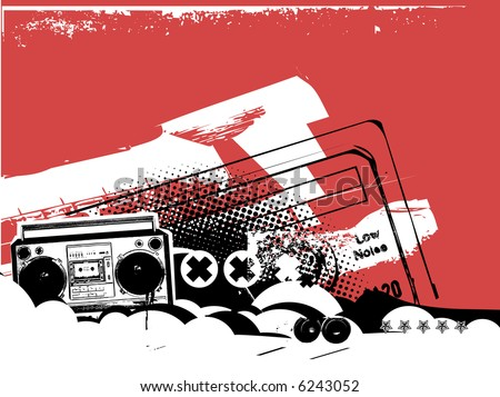 Boombox .  Grunge styled urban background in graffiti style.  Vector illustration. - stock vector