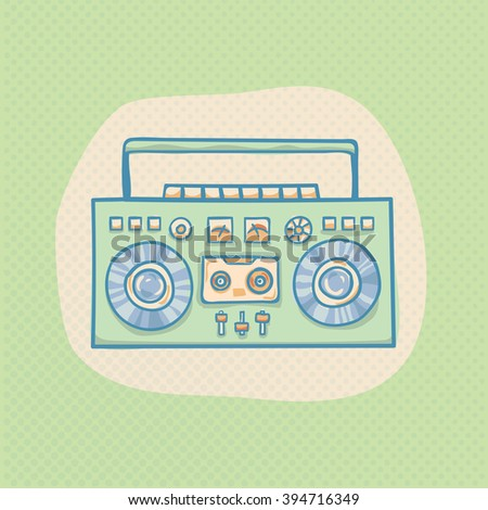 Boombox with cassette. Portable cassette player, hand drawn vector retro illustration with halftone. Suitable for banner, ad, t-shirt design. Vintage boom box vector design element - stock vector