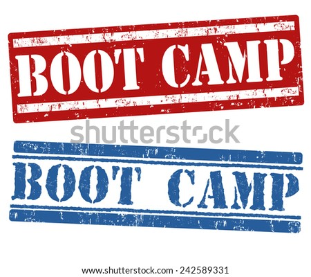 Boot camp grunge rubber stamps on white background, vector illustration - stock vector