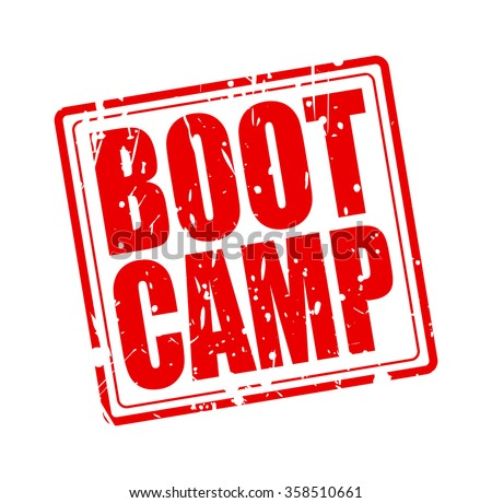 BOOT CAMP red stamp text on white - stock vector