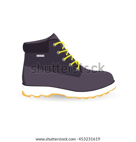 Boot isolated vector icon, high shoe icon, working boot icon, men shoe icon - stock vector