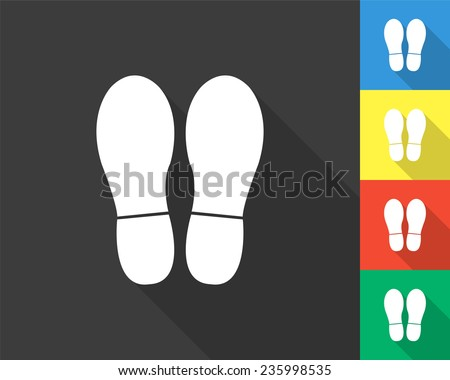 bootprints icon - gray and colored (blue, yellow, red, green) vector illustration with long shadow - stock vector