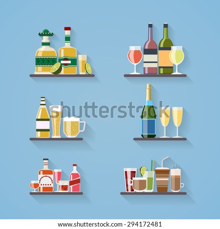 Booze or drinks flat icons on tray at bar. Beverage and liquor, design, wine and juice, champagne bottle and beer. Vector illustration - stock vector