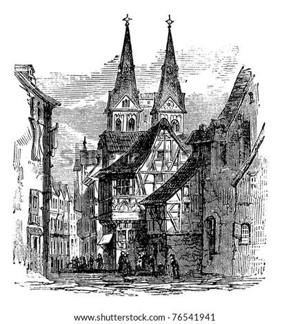 Boppard town in  Rhein-Hunsruck-Kreis, Rhineland-Palatinate, Germany, old engraved illustration of the  town, Boppard, Rhein-Hunsruck-Kreis, Germany, 1890s. Trousset Encyclopedia - stock vector