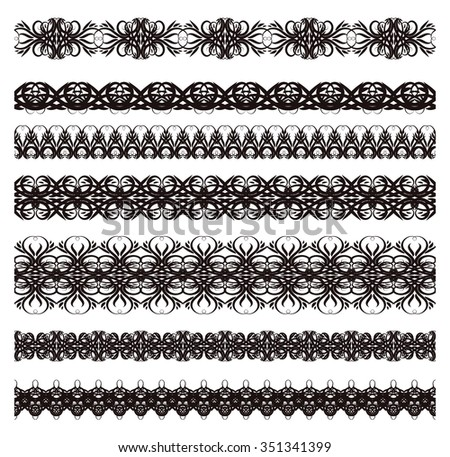 Border decoration elements patterns collection. Vector illustration