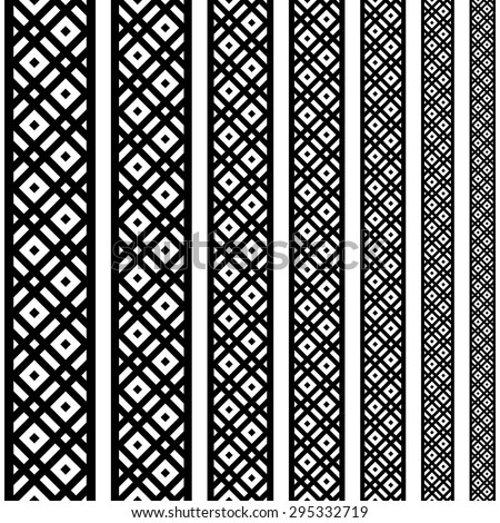 Border decoration elements patterns in black and white colors. Geometrical ethnic vertical border in different sizes set collections. Vector illustrations. Can use as tattoo, frame, pattern, divider - stock vector