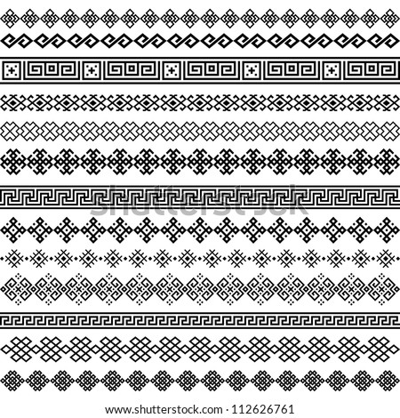 Border decoration elements patterns in black and white colors. Most popular ethnic border in one mega pack set collections. Vector illustrations. - stock vector