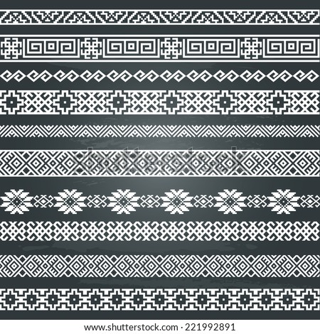 Border decoration elements patterns in black and white colors on chalkboard background. Most popular ethnic border in one mega pack set collections. Vector illustrations.  - stock vector