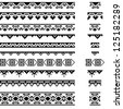 Border decoration elements patterns in black and white colors. Vector illustrations. - stock vector