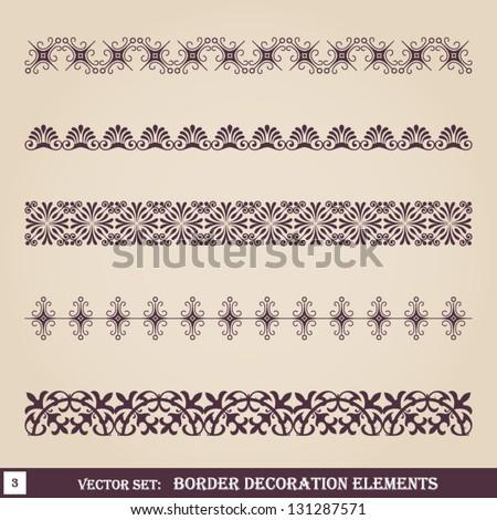 Border decoration elements set 3 - stock vector