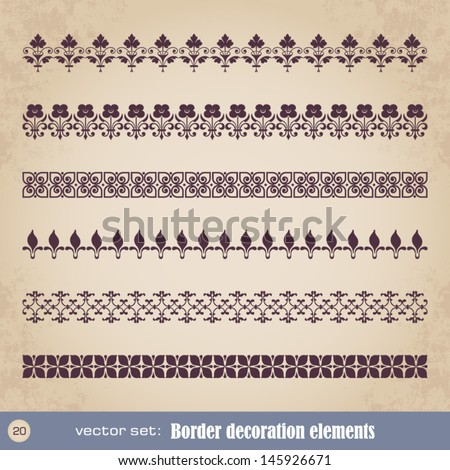 Border decoration elements set 20 - stock vector