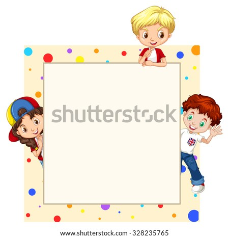 Border design with children illustration - stock vector