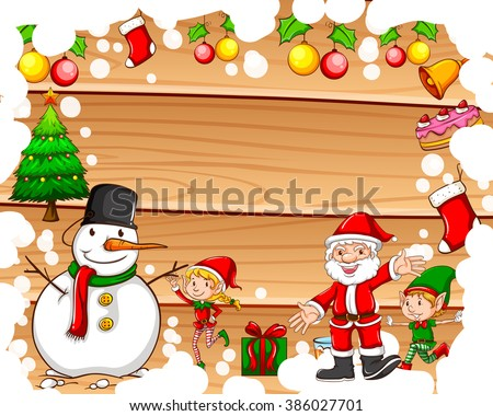 Border design with christmas theme illustration - stock vector