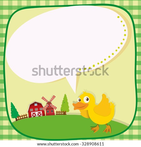 Border design with duckling on the farm illustration - stock vector