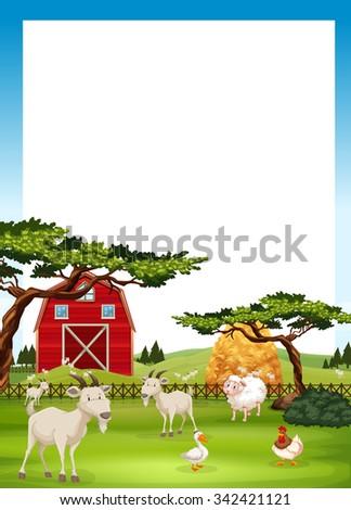 Border design with farm animals illustration - stock vector