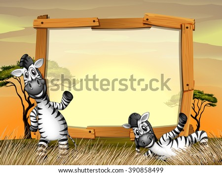 Border design with two zebras in the field illustration - stock vector