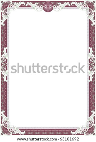 Border diploma or certificate. - stock vector