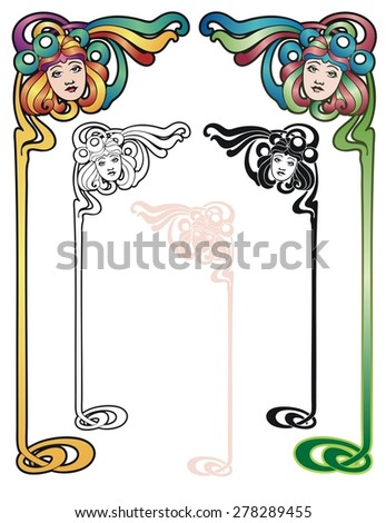 border elements in the art nouveau style, with variations. - stock vector